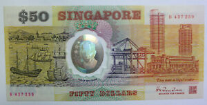 Singapore $50 fifty dollars polymer Commemorative independence banknote 1990 UNC