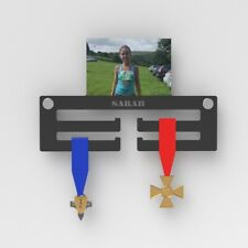Personalised Medal Display Hanger / Black Acrylic Medal Holder With Photo 6x4