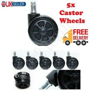 50MM DOUBLE OFFICE CHAIR CASTOR WHEELS NON MARKING RUBBER SET OF 5x TWIN CASTERS