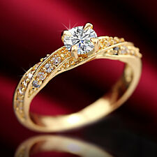 9K GOLD GF WEDDING 1CT SOLITAIRE LAB DIAMOND ANNIVERSARY INFINITY CRYSTAL RING
