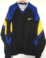 Vtg REEBOK Black Wavey Old School Festival Pullover Windbreaker Jacket Mens XXL