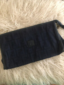 Fendi Vintage Blue Pochette Purse Case Clutch