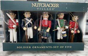 "5pc Nutcracker Village Miniature SOLDIER Ornaments May Department Store 1999 4"""