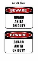 "2 count ""Beware Guard Akita (v2) on Duty"" 11.5 inch x 9 inch Laminated Dog Sign"