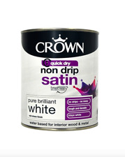 NEW Crown Paint Non Drip Satin Pure Brilliant White 2.5LK QUICK DRY WOOD/METAL