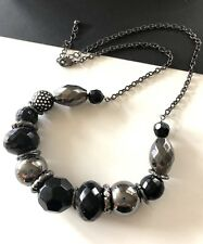 Chunky Black Silver Gunmetal  Beads On A Chain Statement Necklace