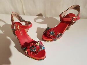Laura Vita FICNALO 11 Damen Leder Sandalen Farbe rot-multicolor Größe 37 NEU