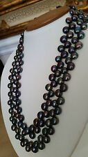 "Artisan Crafted Double Strand Peacock Freshwater Pearl Necklace 17 1/2"" Long"