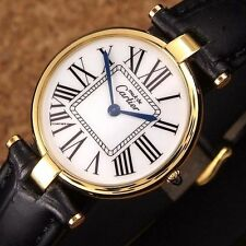 Authentic Must De Cartier Vermeil Watch 18 k Gold Plated Quartz Mens Wrist Watch