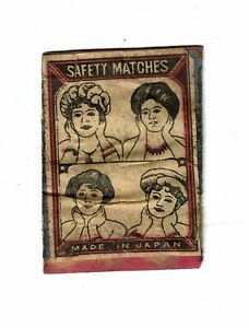 1 Old Japan c 1900s Matchbox label on wood depicting Four Ladies size 47x35mm.
