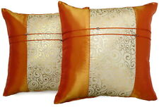Set of Two Orange Silk Throw Cushion Pillow Covers Case Gold Filigree