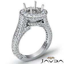Semi Mount Diamond Engagement Ring Halo Prong Set 18k White Gold Round Cut