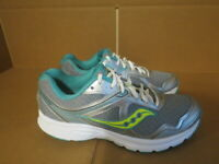 WOMENS SAUCONY GRID COHESION 10 GRAY WHITE TEAL RUNNING SHOES SIZE 9M A611