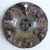 Bouton ancien - Nacre & Clous d'acier - 32 mm - Cut Steel Etched Shell button