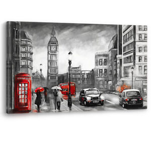 Red Telephone Box Cab Painting London Luxury Canvas Wall Art Large Picture Print