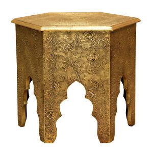 Marokkanischer Beistelltisch Targa Ø 46cm Holz Tisch Messing verziert Couchtisch