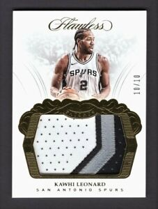 Kawhi Leonard Spurs 2017-18 Flawless Gold Game-Used Patch Card 10/10