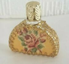 ANTIQUE VINTAGE PERFUME SCENT BOTTLE  PETIT POINT TAPESTRY  GOLD TONE FILIGREE
