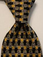 ERMENEGILDO ZEGNA Men's 100% Silk Necktie ITALY Luxury Geometric Black/Gray EUC