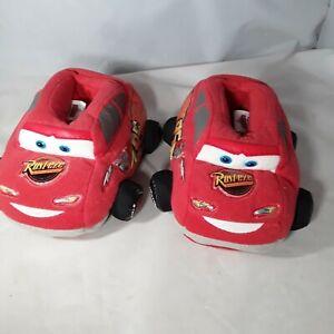 CARS Lightning McQueen Toddler Boys Slipper House Shoes Size 7-8 Med Disney Red