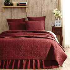 CHEYENNE AMERICAN RED 4 PC QUEEN QUILT SET FEATHERED STAR QUILT SHAMS BED SKIRT