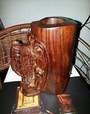 金丝老料红酸枝木雕鲤鱼笔筒Chinese acid wooden brush pot hand carved fish Statue sculpture art
