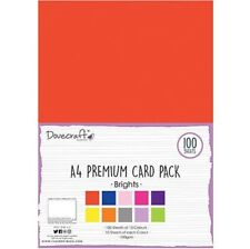 DOVECRAFT ESSENTIALS A4 PREMIUM 100 SHEET CARD PACK BRIGHTS COLOURED 180GSM