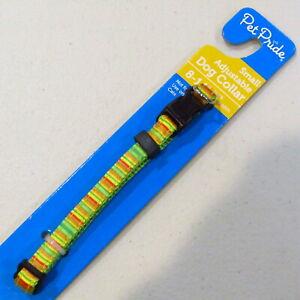 "Dog Collar SMALL Adjustable 8-14"" neck 3/8"" Wide NEON Green Orange Yellow"