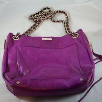 Rebecca Minkoff Real Calfskin Leather Swing Shoulder Bag Purple High Fashion