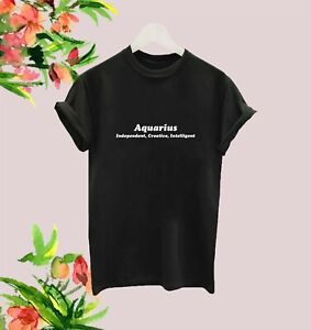 AQUARIUS T SHIRT LADIES STAR SIGN TEE WOMENS ZODIAC SLOGAN TOP ASTROLOGY YOGA