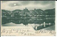 Ansichtskarte Cobern mit Ruinen Niederburg / Altenburg bei Mondschein Litho 1903