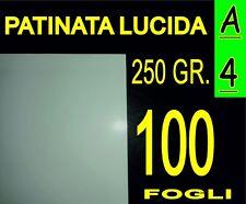 100 FOGLI Carta 250 gr fotografica patinata lucida x stampante laser A4