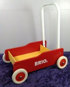 BRIO Toddler Wobbler Wooden Trolley Walker Red / Yellow