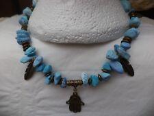 BOHEMIAN Hamsa Hand of Fatima Firoza Turquoise nuggets Angel Heart Boho NECKLACE