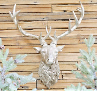 Resin Stag Head Wall Mounted Art Grey Hanging Plaque Indoor Figure Home Feature