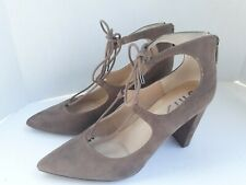 """UNISA Brown Suede Closed Pointy Toe Back Zip Lace Up Ankle 3.5"""" Heels Sz 8 M"""