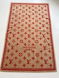 Louis Vuitton Beach Bath Towel Monogram Red Beige Color 100% Cotton from JP Rare