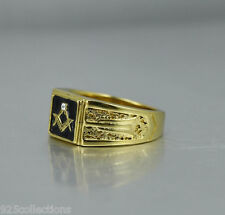 "Square Black Enamel Clear Crystal No "" G "" Free Mason Masonic Men Ring Size 11"
