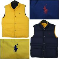 RALPH LAUREN POLO Boys XL 18-20 Blue/Yellow Button Down Reversible Puffer Vest