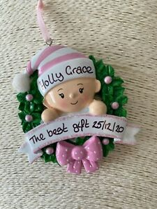 Personalised Baby's First Christmas Tree Decoration Bauble Pink Girl Wreath