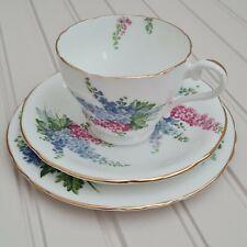 More details for vintage ainsley bone china delphinium tea trio - free p&p included
