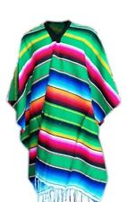 New Mexican Party Green Striped Sarape Unisex Poncho Party Supplies Made Mexico