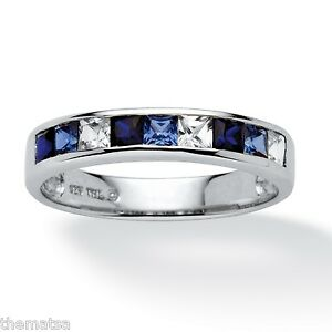BLUE  AND WHITE SAPPHIRE PLATINUM OVER STERLING SILVER RING SIZE 5 6 7 8 9 10