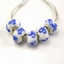 5pcs Silver MURANO GLASS BEAD LAMPWORK fit European Charm Bracelet H34