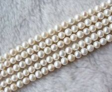 """Wholesale 5 Strands 6-7mm White Freshwater Pearl Round Loose Bead 14"""""""