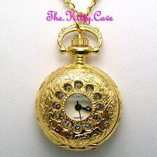 Miniature Gold Pltd Vintage Pocket Half Hunter Steampunk Pendant Necklace Watch