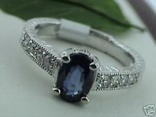 1.25 ct 14k Solid White Gold Ladies Oval Natural Ceylon Sapphire & Diamond Ring
