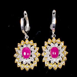 Sweet AAA color gem Ruby Earrings Silver 925 Sterling   /E57258