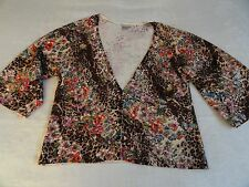 Alberto Makali Cardigan Sweater Misses L Brown Tan Leopard Applique Butterfly LG