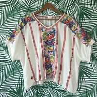 J Marie Floral Embroidered Oversized Rayon Blouse Women's Size Large